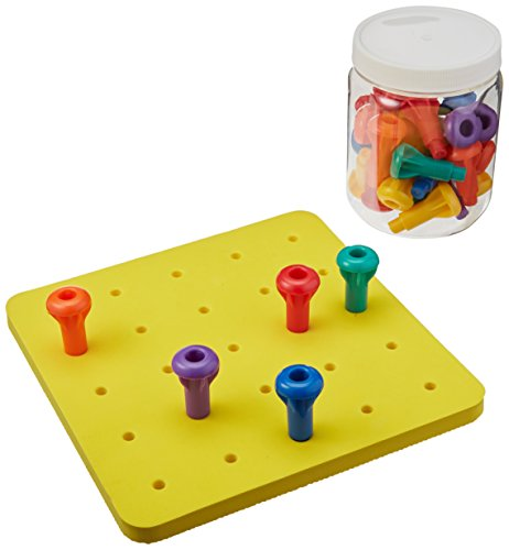 Sammons Preston Easy Grip Peg Boards, Jumbo Pegs, Manipulative Peg Board for Touch Sensation & Sensory Motor Skill, Physical and Occupational Therapy Game for Toddlers & Young Children, Sensory Toy