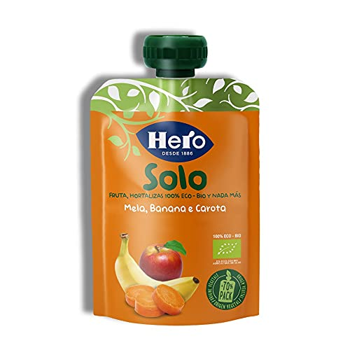 Hero Baby Solo Bolsita de Manzana, Plátano y Zanahoria Puré de Frutas Ecológico para Llevar para Bebés a partir de 4 meses, 100 g