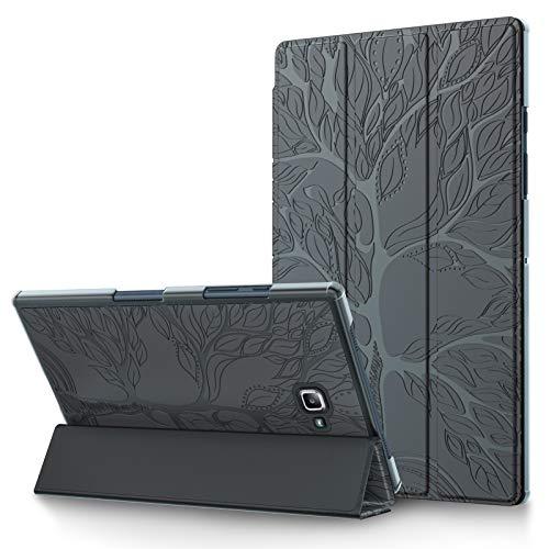 Funda para Samsung Galaxy Tab A 10.1 2016 Carcasa SM-T580/T585 Delgado Funda Protectora de Cuero PU Triple Flip Case Cover con Auto-Sueño/Estela, para Galaxy Tab A6 10.1 Pulgadas 2016,Gris Oscuro