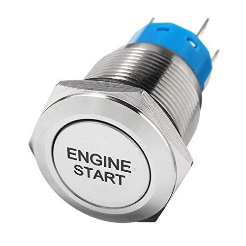 WEIMEIDA Qclj0415 12V 19mm Coche Motor Inicio botón pulsador Aleación LED Potencia Latching Tipo On-Off Auto Motor Encendido Interruptor de Inicio Piezas de Repuesto (Color : Blue)