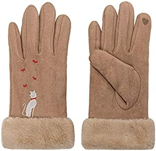 Bold N Elegant Luxury Soft Suede and Faux Rabbit Hair Fur Cute Embroidery Winter Thermal Warm Gloves Mittens Winter Access...