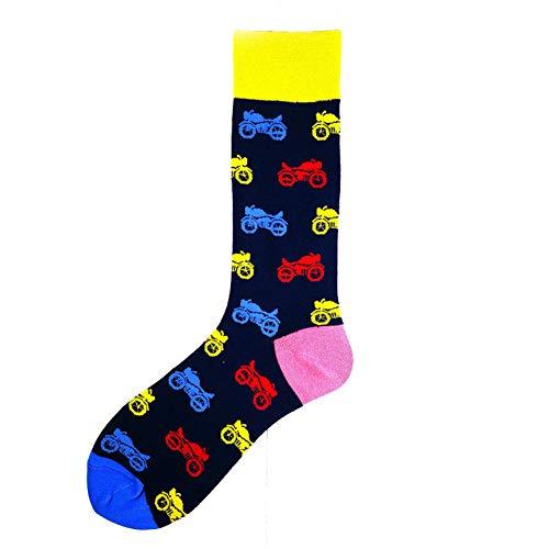 Stylische Herren-Socken mit Cartoon-Motiv, tricolor Motorrad, EUR39-46