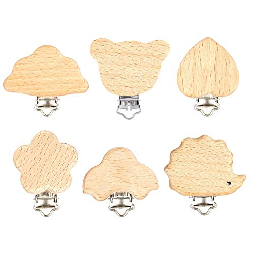 miuse Schnuller Clip, 6 Stück Holz Schnullerclips Set, Schnullerketten Clips Schnuller Halter Baby Beißring für Neugeborene Krankenpflege Spielzeug Säugling Schnuller Verschlüsse Halter Zubehör