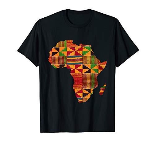 Cool Africa Map Kente Cloth Gift For Men Women African Lover T-Shirt