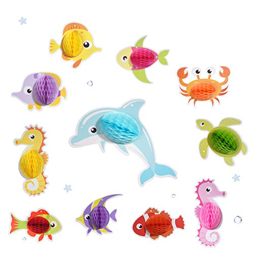 BUTABY 11pcs Ocean Animal Party Favors, Hanging Decor for Birthday Party Decoration, Party Supplies for Kids, Photo Booth Props