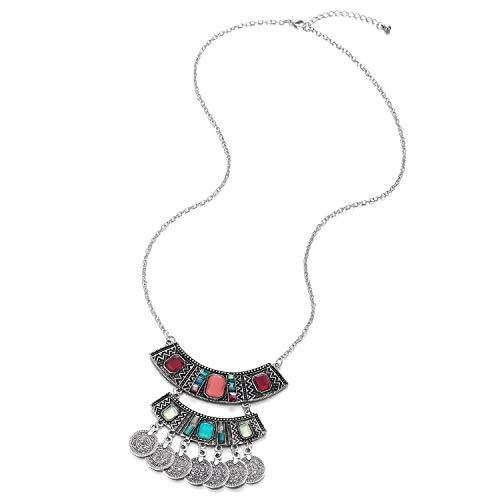 COOLSTEELANDBEYOND Largo Cadena Statement Collar Colores Cristal Cuentas Colgantes Multi Capas Círculo Borla Colgante, Vintage Etnico