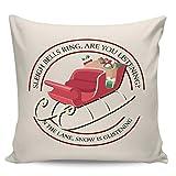 Winter Rangers Fundas de almohada decorativas, regalo de trineo de Navidad, diseño redondo, color beige ultra suave, funda de cojín cuadrada cómoda para sofá dormitorio, 66 x 66 cm
