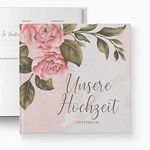 glupspilz   Gästebuch Hochzeit   mit Fragen zum Ausfüllen   Vintage Peony