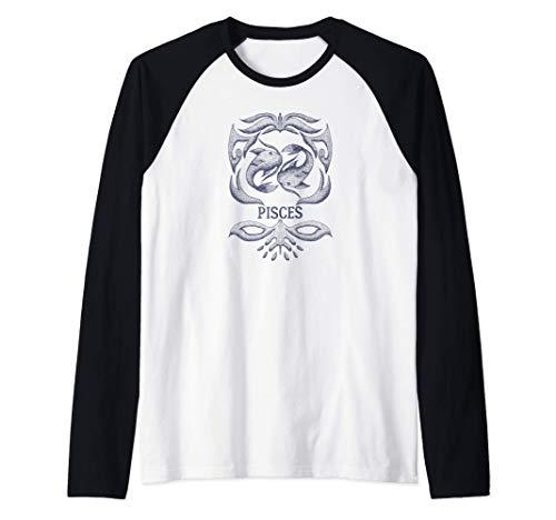 Camiseta retro del zodiaco Piscis Regalo de cumpleaños Signo Camiseta Manga Raglan