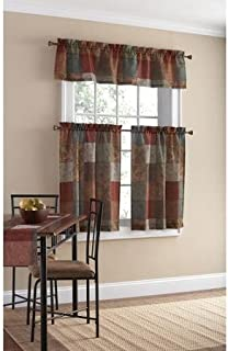 Patchwork Design Polyester Small Curtain Panel and Valance Set