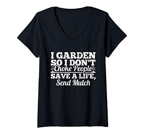Womens Funny Gardening Gardener Plant Lover Vegetable Garden Gift V-Neck T-Shirt