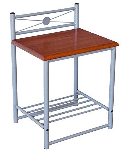 PEGANE Table de Chevet en Bois et métal, Coloris Argent et Brun - Dim : H 64 x L 45 x P 35 cm