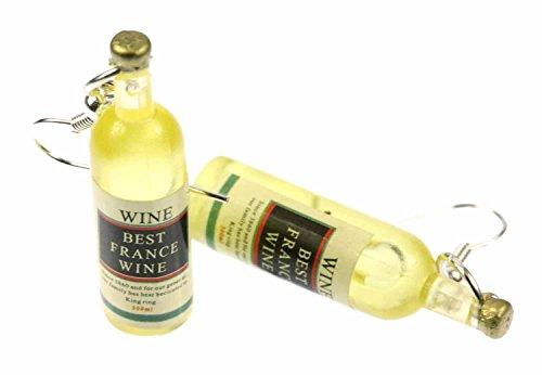 Miniblings Flaschen Weinflaschen Best France Ohrringe - Handmade Modeschmuck I Weißwein Flasche Mini - Ohrhänger Ohrschmuck versilbert