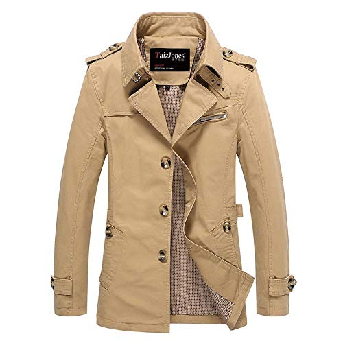 Men's Turn-Down Collar Casual Woolen Coat Winter Long Jacket Overcoat Mid-length fashion plus size men's clothing-khaki_2XL