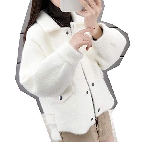 Cárdigan de visón sintético para mujer, grueso, cálido, elegante, sólido, cárdigan de manga farol, suéteres de punto abrigo, color café claro