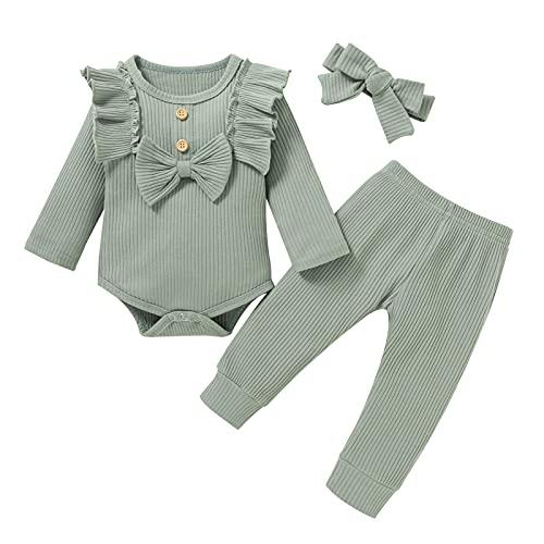 Borlai Conjunto de ropa acanalada para recién nacido, casual, de manga larga, con volantes, con lazo, pantalones elásticos, diadema de 0 a 24 m, verde, 0-6 meses