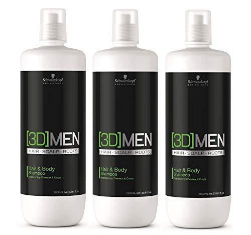 3er Schwarzkopf Professional 3D Men Hair & Body Shampoo 1000 ml