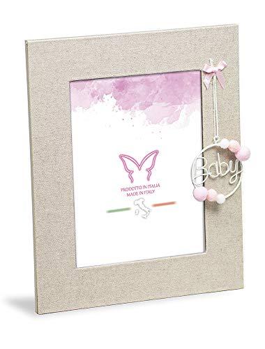 Mareli Cornice Portafoto da tavolo per Bambina cm 20x23,5 in tessuto lino con decorazioni rosa, struttura retro in legno, dimensione foto cm 13x18. Idea Regalo.