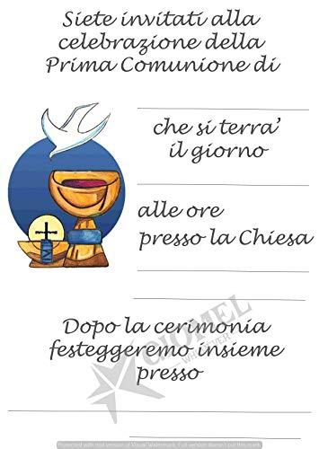 Giomel Inviti Partecipazioni Prima Comunione Bambino Bambina Cartoline per Invitare alla Cerimonia della Comunione Cartoncino Bianco 10,5x14,8 cm 20 Pezzi