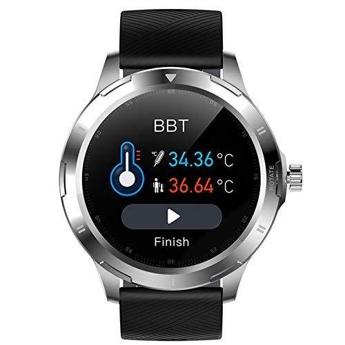FMSBSC Smartwatch Reloj Inteligente para Hombres Mujeres con Monitor de Temperatura Frecuencia Cardíaca presión Arterial Sueño Notificaciones de Mensajes, Reloj Compatible con iOS Android,D