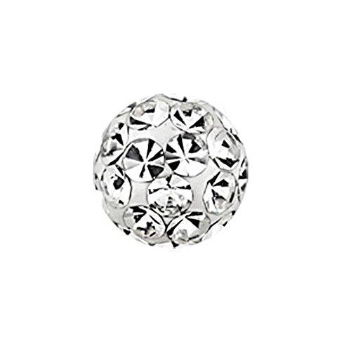 eeddoo Piercingkugel Klemmkugel Kristall CC - Crystal Clear/Kristallklar Epoxy 3 mm