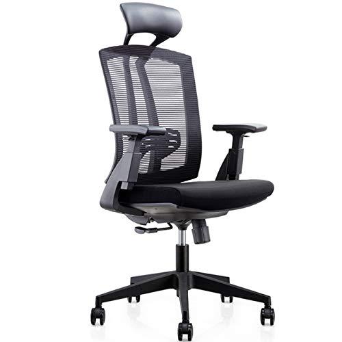 Jayfi - Sedia ergonomica da ufficio, reclinabile, con supporto lombare, cuscino regolabile e bracciolo 3D, schienale in rete traspirante, colore nero (con poggiapiedi)
