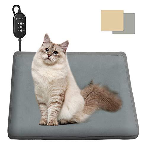 OMORC Heizkissen für Hund und Katze, Heizdecke Hund mit Thermostaten, Heizmatte Hund mit 2 austauschbaren Decken,...