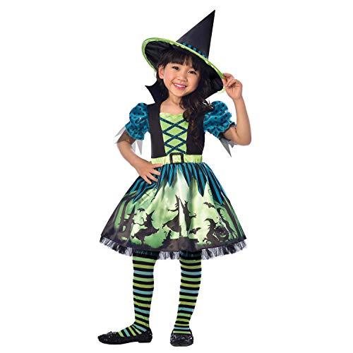 amscan 9903410 Miss Witch Craft - Disfraz de niña de 6 a 8 años, 1 unidad