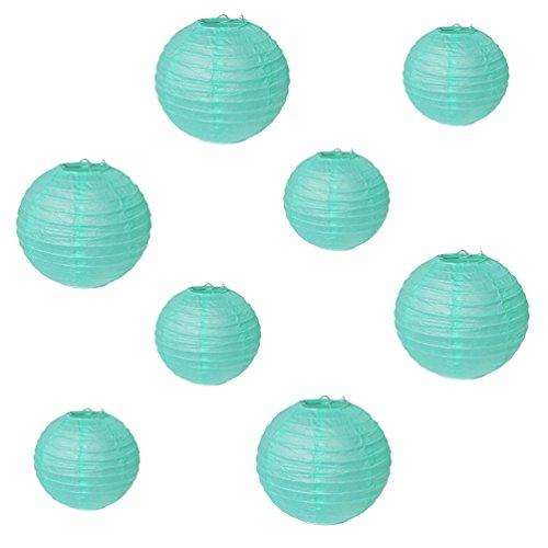 SUNBEAUTY Lanterne Papier Chinoise Boule Lampion Bleu Deco Mariage Decoration Bapteme Anniversaire Baby Shower Lot de 8 (Mix 20 cm 30 cm)
