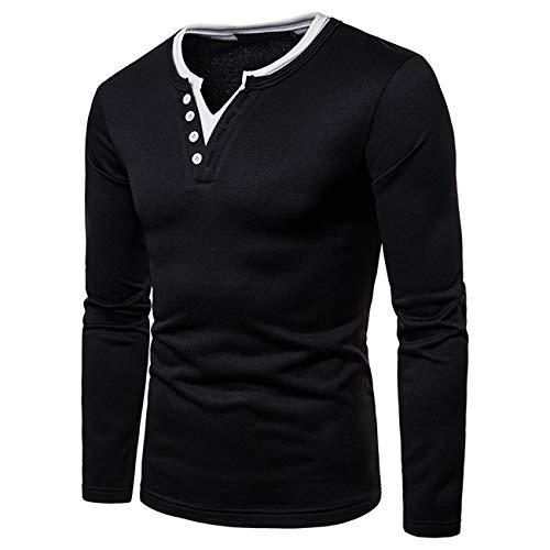 Herren Pure Farbe Lange Ärmel Freizeit und Mode Herbst und Winter Sweatershirt(XXL,Schwarz)