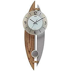 Wall Clock,Mute Solid Wood Glass Modern Wall Table Metal Clock,Wall-Mounted Stereoscopic Swing Household Pocket Watch Dust-Proof/B / 220x628mm