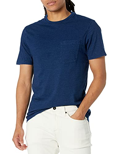 Amazon Brand - Goodthreads Men's Short-Sleeve Indigo Crewneck Pocket T-Shirt, Dark Wash, Large