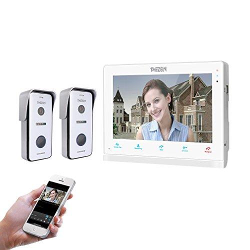 TMEZON IP Wifi Videocitofono Intercom,10 pollici Monitor touch-screen,2*720P Campanello Telecamera cablata Visore notturno,conversazione visualizzazione,salvataggio,Tuyasmart APP