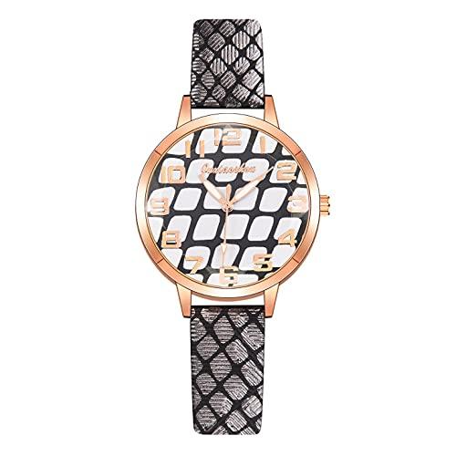 CXJC Reloj Personalizado de Las señoras de la Moda con la Correa de Sarga, Reloj de Deportes de Damas Redondas de 36 mm. Modelo Digital, una Variedad de Colores Disponibles. (Color : I)