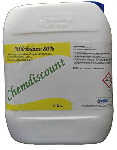 Chemdiscount 5 Liter (ca. 6,25 kg) Milchsäure 80% in Lebensmittelqualiät E270