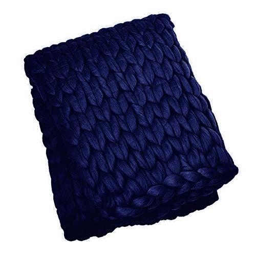 ZCXBHD Super Gran Gigante Hecha a Mano Grueso y Suave Manta Hecha Punto Chunky Tiro Cama acogedora, Moda sofá Manta Yoga Mat Alfombra Decoración Regalos (Color : Dark Blue, Size : 127x152cm)