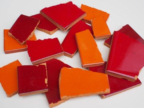 4 kg Bruchmosaik, Mosaikfliesen aus handgefertigten Fliesen - Rot-Orange-Töne, Großmenge
