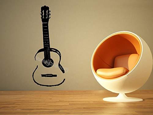 zqyjhkou Akustische Gitarre Wandtattoo Musik Gitarre Musikinstrument Kunstwand Sofa Hintergrund Musik Shop bar Wohnzimmer Aufkleber 30x73 cm