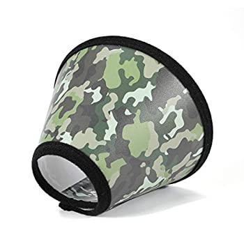 Mogoko Camouflage Pet Medical Surgery Recovery e Collar Comfy Plastic Elizabethan Neck Collar Dog Cat Wound Protective Head Cone