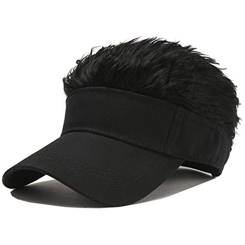 Novelty Hair Visor Sun Cap Wig Peaked Baseball Hat with Spiked Hairs (Black)