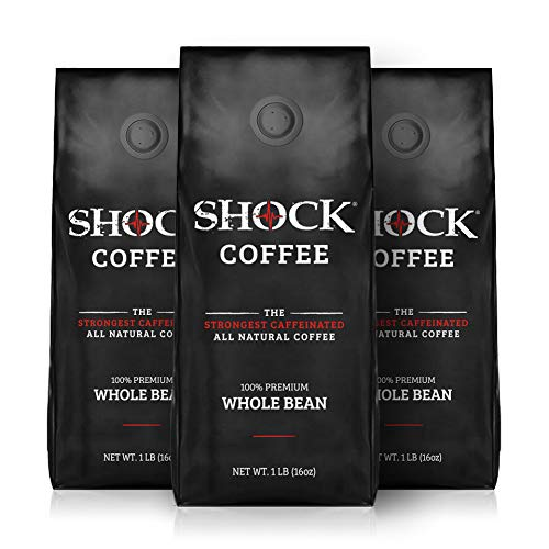 Shock Coffee Whole Bean. The Strongest Caffeinated All Natural Coffee, Up to 50% More Caffeine than Regular Coffee, 3 pounds