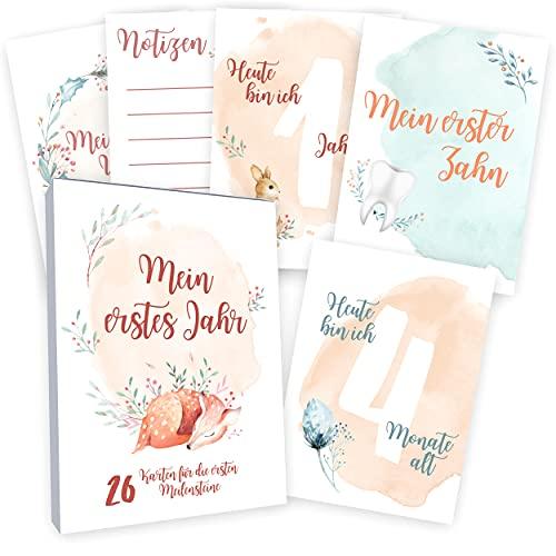 Meilensteinkarten Baby (26 Stück mit Box) Junge & Mädchen - Meilenstein Karten - Milestone Cards Geschenk zur Geburt - Geschenke Schwangerschaft & Babyparty - Fotokarten Babykarten - Aquarell