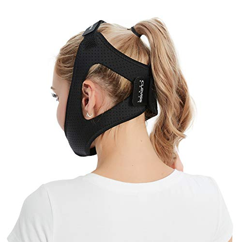 Anti Snoring Chin Strap Double Adjustable Snoring Solution/Sleep Aid for Men and Women, Stopper Chin Straps for Snoring Sleeping Mouth Breathers (Black)