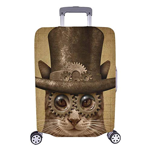 InterestPrint Funny Steampunk and Steam Punk Cat Luggage Cover Suitcase Bag Baggage Cover for 26'-28' Luggage