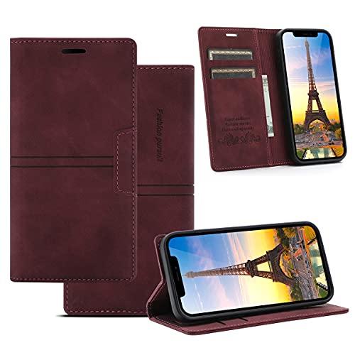Gift_Source iPhone 6S Plus Funda, iPhone 6 + Funda, [Vino Rojo] Carcasa Cover Funda de Piel PU Billetera Flip Case con Ranura para Tarjetas y Soporte Plegable para iPhone 6S+/6S Plus/6 Plus 5.5'