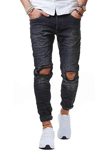 Redbridge Pantalones Jeans con Agujeros y Estilo Desgastado para Hombre Negro W30L34