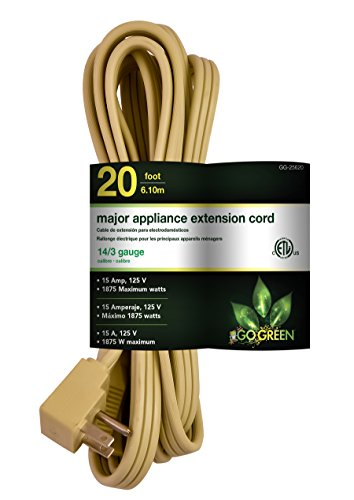 GoGreen Power GG-25620 14/3 20' SPT A/C Extension Cord - Beige