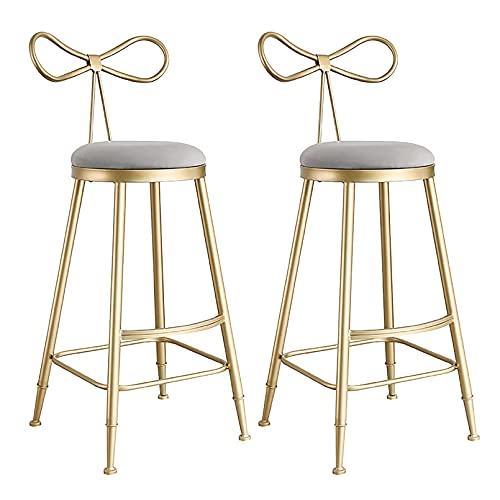 Taburetes de Bar Juego de 2, Sillas de barra de metal, juego de 2, taburete para mostrador, diseño moderno, terciopelo, marco de metal, taburetes de desayuno, silla fácil de montar para mostrador, b