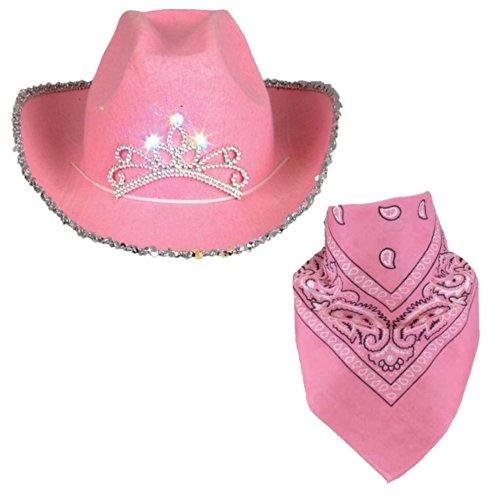 Funny Party Hats Cowboy Hat for Adults - Felt Cowboy Hats w/Paisley Bandana