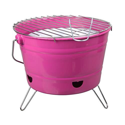 FEANG Desktop-Holzkohle-Grill, runder faltender tragbarer Barbecue BBQ-Herd Home Charcoal Kleines Grill Keiner für Camping Indoor Outdoor-Picknick (Color : Pink)